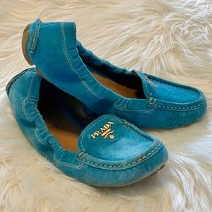 Prada blue/aqua suede loafer
